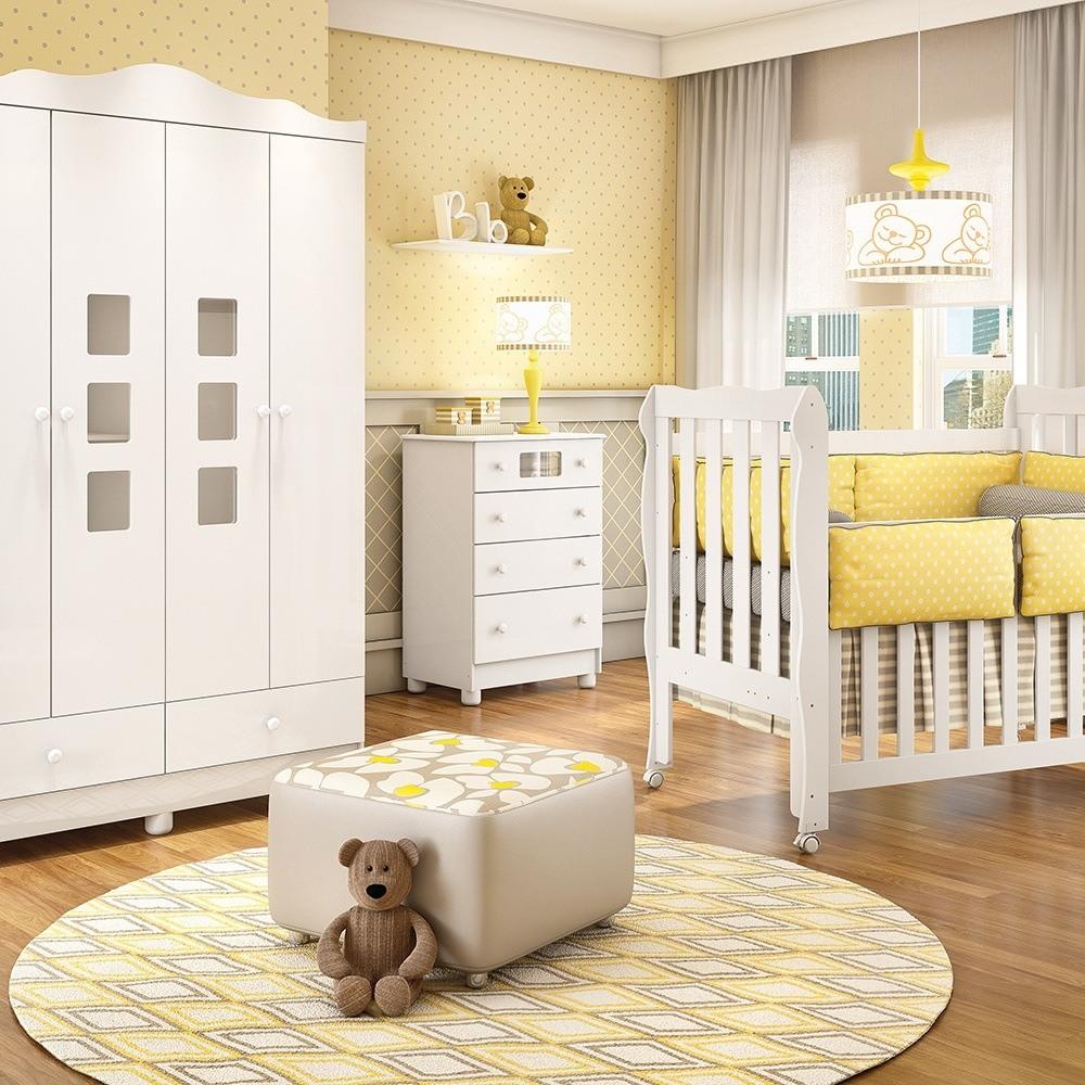 Quarto para Bebê com Guarda Roupas 4 Portas e 2 Gavetas Lila  Grão de Gente